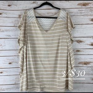 NWT Lane Bryant size 26 flutter sleeve top striped